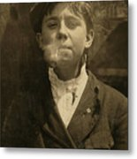 Portrait Of A Boy Smoking A Pipe Metal Print by Everett