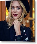 Portrait Of A Girl In Black Clothes And A Hat On The Street In The Evening Metal Print