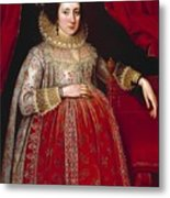 Portrait Of A Woman In Red Metal Print