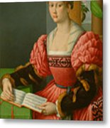 Portrait Of A Woman With A Book Of Music Metal Print