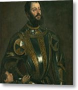 Portrait Of Alfonso D'avalos Marquis Of Vasto In Armor With A Page Metal Print