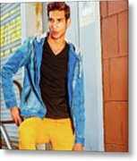 Portrait Of Young Man In New York Metal Print