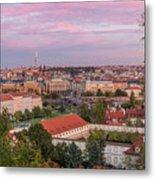 Prague Skyline At Sunset Metal Print