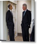 President Obama Talks With Former Metal Print