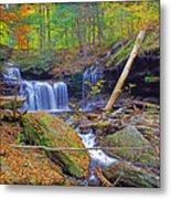 R B Ricketts Falls In Autumn Metal Print