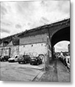 railway viaduct in oxford street former industrial area of digbeth now a conservation area Birmingha Metal Print