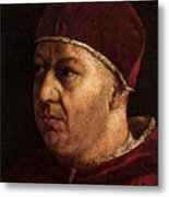 Raphael Pope Leo X With Cardinals Giulio De  Medici And Luigi De  Rossi  Metal Print