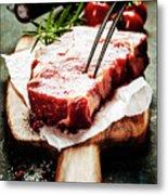 Raw Beef Steak And Wine Metal Print