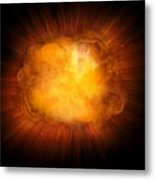 Realistic Fire Explosion, Orange Color With Sparks Isolated On Black Background Metal Print