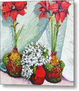 Red Amaryllis With Shooting Star Hydrangea Metal Print