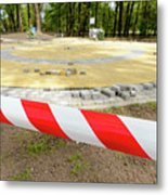 Red And White Barricade Tape Metal Print