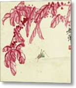 Red Autumnal Leaves Insect Metal Print