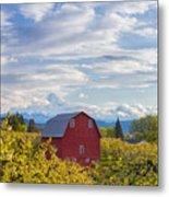 Red Barn And Mt Hood Metal Print