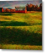 Rolling Hills And Red Barn, Rock Island, Tennessee Metal Print