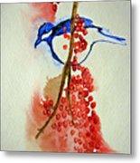 Red Berry Blue Bird Metal Print