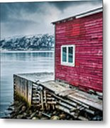 Red Boathouse In Norris Point, Newfoundland Metal Print