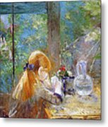 Red-haired Girl Sitting On A Veranda Metal Print