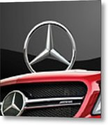Red Mercedes - Front Grill Ornament And 3 D Badge On Black Metal Print