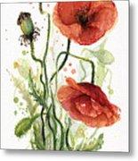 Red Poppies Watercolor Metal Print