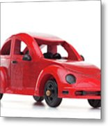 Red Retro Wooden Toy Car Isolated On White Background Metal Print