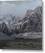 Red Rock Canyon Snow Storm Metal Print