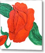 Red Rose, Oil Painting Metal Print