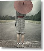 Red Umbrella Metal Print by Joana Kruse