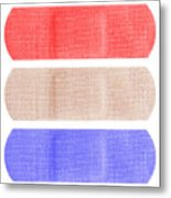 Red White And Blue Bandaids Metal Print by Blink Images