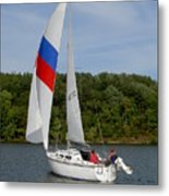 Red White And Blue Sails Metal Print