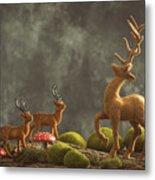 Reindeer Scene Metal Print