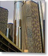 Renaissance Center In Detroit Metal Print by Guy Ricketts