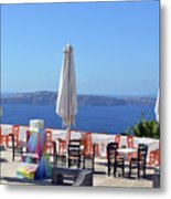 Restaurant By The Aegean Sea  In Santorini, Greece  Metal Print