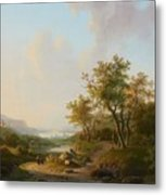 River Landscape With Views Of A Castle And Town Metal Print
