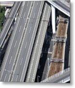 Road And Rail Intersection Metal Print