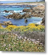 Rocky Surf With Wildflowers Metal Print
