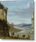 Roman Landscape With Ruins Metal Print