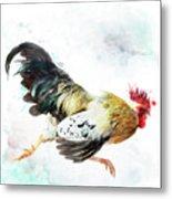Rooster Running Metal Print