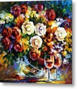 Roses And Wine Metal Print