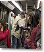 Rush Hour On Paris Metro Metal Print