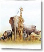 Safari Animals In Africa Composite Metal Print