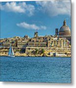 Sail Boat And Cathedral Metal Print