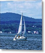 Sail Boat On The Hudson River Metal Print