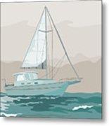 Sailboat Retro Metal Print by Aloysius Patrimonio