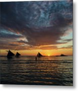 Sailing Boats At Sunset Boracay Tropical Island Philippines Metal Print