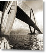 Sailing On The Charleston Harbor Beneteau Sailboat Metal Print
