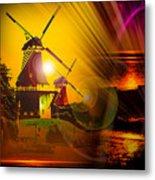 Sailing Romance Windmills Metal Print