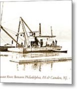 Salvage Barge, Delaware River, Philadelphia, C.1900 Metal Print