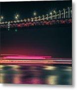 San Francisco Patry Ferry Casino Near Oakland Bay Bridge At Nigh Metal Print