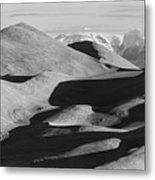 Monochrome Sand Dunes And Rocky Mountains Panorama Metal Print