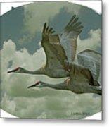 Sandhill Crane Pair Metal Print
